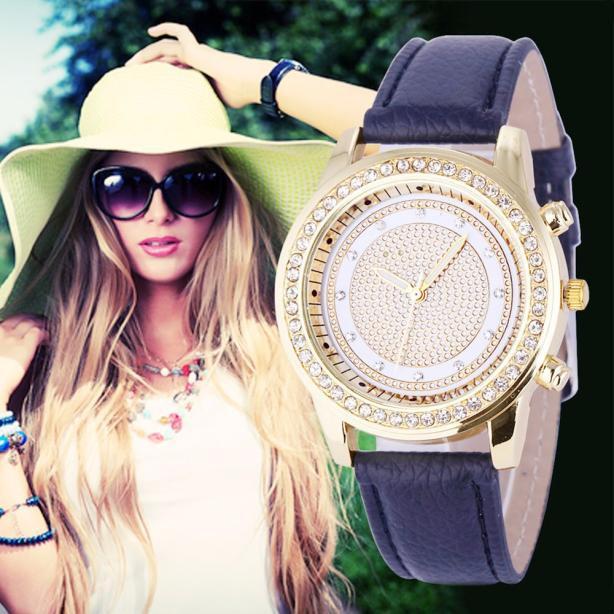 Women's Geneva Fashion Leather Analog Stainless Steel Quartz Wrist Watch
