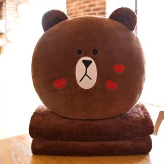 Bộ chăn gối văn phòng đa năng 3 trong 1 cao cấp gấu brown ẢNH THẬT không kèm đút tay
