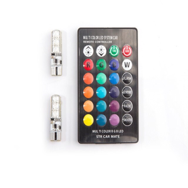 (Sỉ alo) Bộ 2 đèn led Demi T10 đổi màu theo Remote BH 3th
