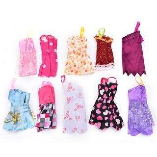 {MUV} 10Pcs Fashion Handmade Dresses Clothes Skirt For Doll Random Pattern and Color{LJ}