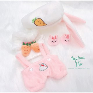 [Có sẵn] Outfit thỏ tai cụp cho doll 20cm