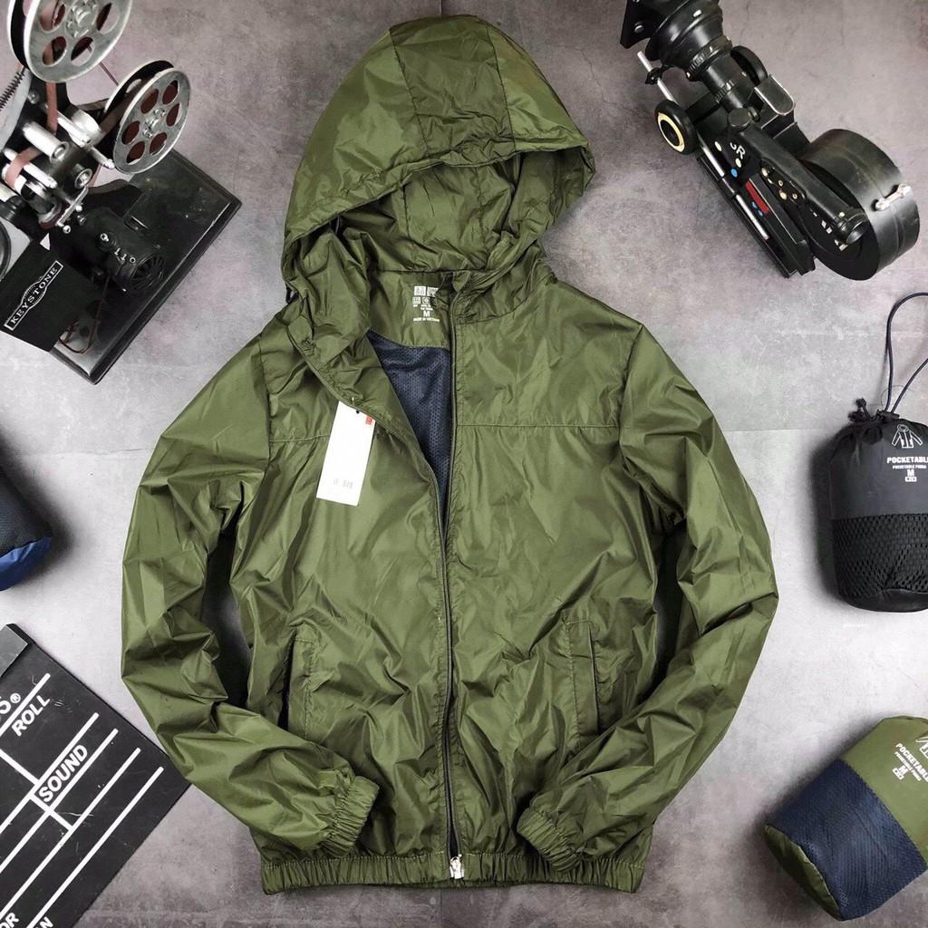 Áo khoác gió nam thể thao, 2 lớp, có mũ dáng chuẩn, chống nước nhẹ, giữ ấm, chống bụi