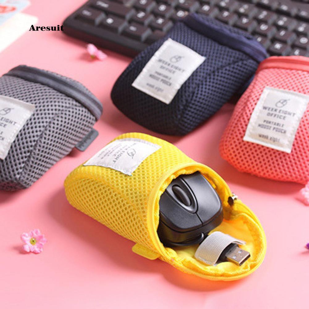 AEST❤Travel Nylon Mesh Soft Wireless Mouse Storage Bag Zipper Pouch Organizer Case