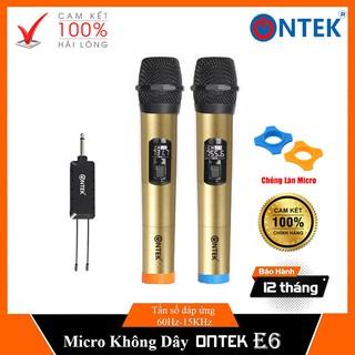 [On-Tek] Bộ Micro Không dây Karaoke Ontek E6 chuyên cho amply, loa kéo, hát gia đình - BH 12 THÁNG thumbnail