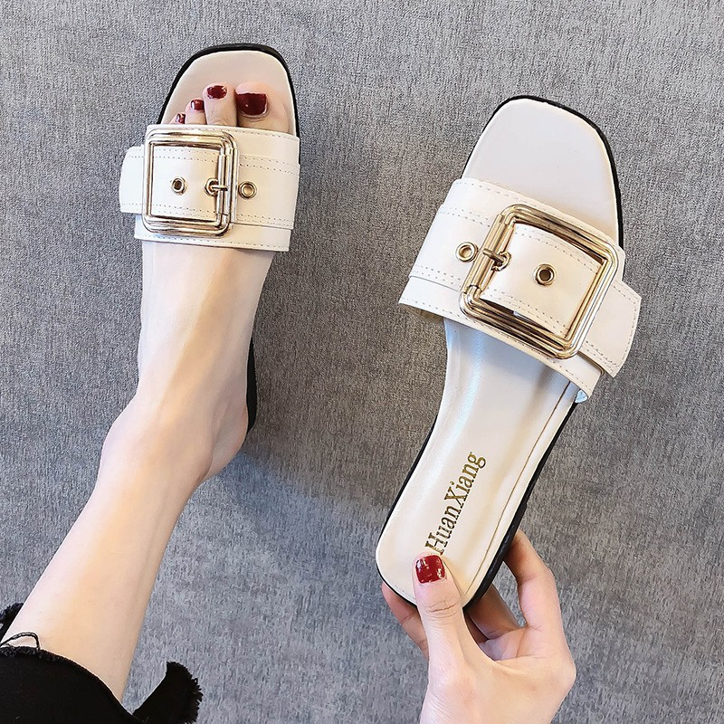 Slippers for women wearing the new summer 2019 metal slacker