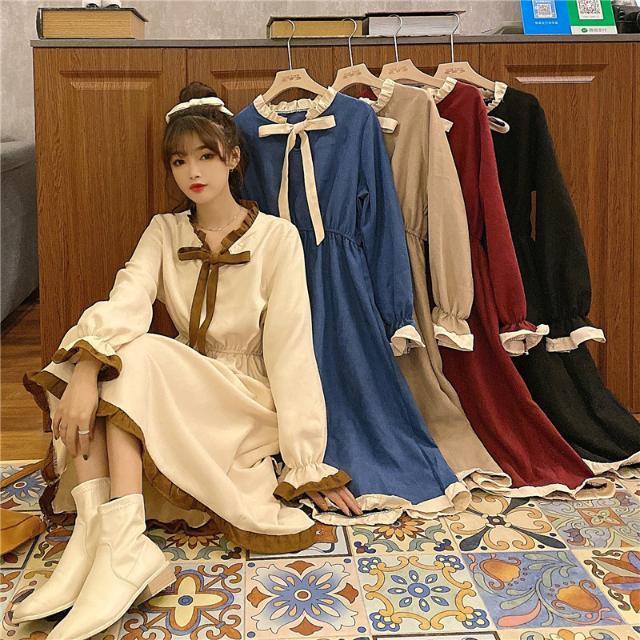 Đầm Dài Tay Phối Dây Thắt Thời Trang Dành Cho Nữ