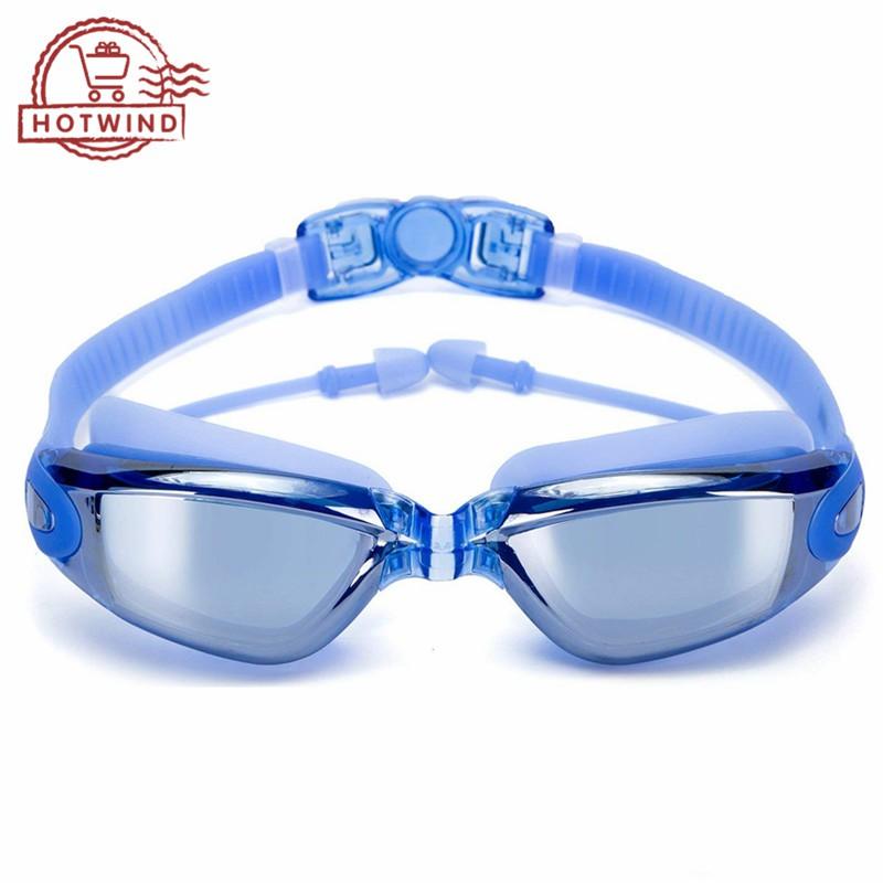 HW Swim Goggles Anti Fog UV Protection Glasses No Leaking Nose Clip Ear Plugs Adult Men Women