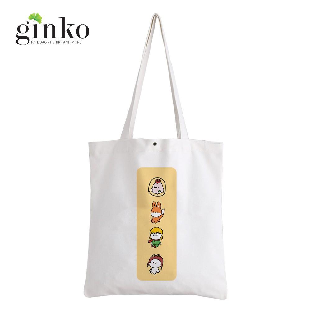 Túi Vải Tote GINKO Kiểu Basic Dây Kéo In Hình Cartoon G167