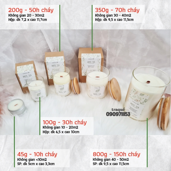 [16 mùi - 5 size] Nến thơm tinh dầu cao cấp không khói an toàn Candle Cup