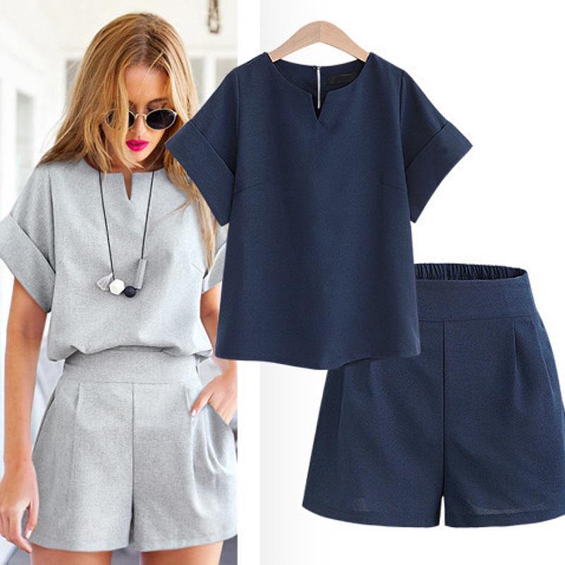 Mới Set Áo Thun Tay Ngắn Và Quần Short Size Xl-5Xl Thời Trang Mùa Hè Cho Nữ