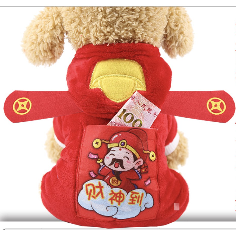 [Mã 267FMCGSALE giảm 8% đơn 500K] [Hàng tết] Quần áo tết thu đông dành cho chó mèo kèm túi lì xì siêu độc đáo