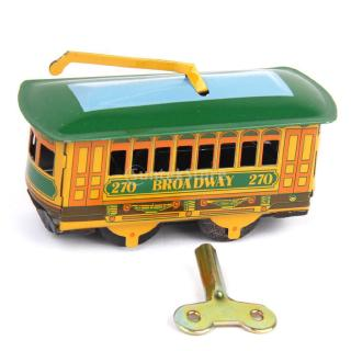 Iron Vintage Wind Up Tram ,Trolley Streetcar Mechanical Tin Toy Collectible Gift w/ Wind-Up Key
