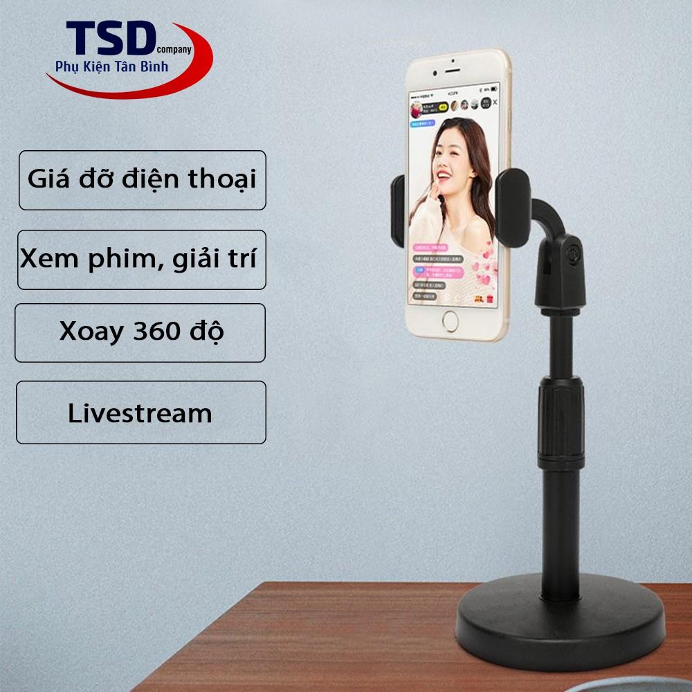 Chân Đế Để Bàn Kẹp Điện Thoại Khi Livestream, Xem Phim Xoay 360 Độ Thông Minh