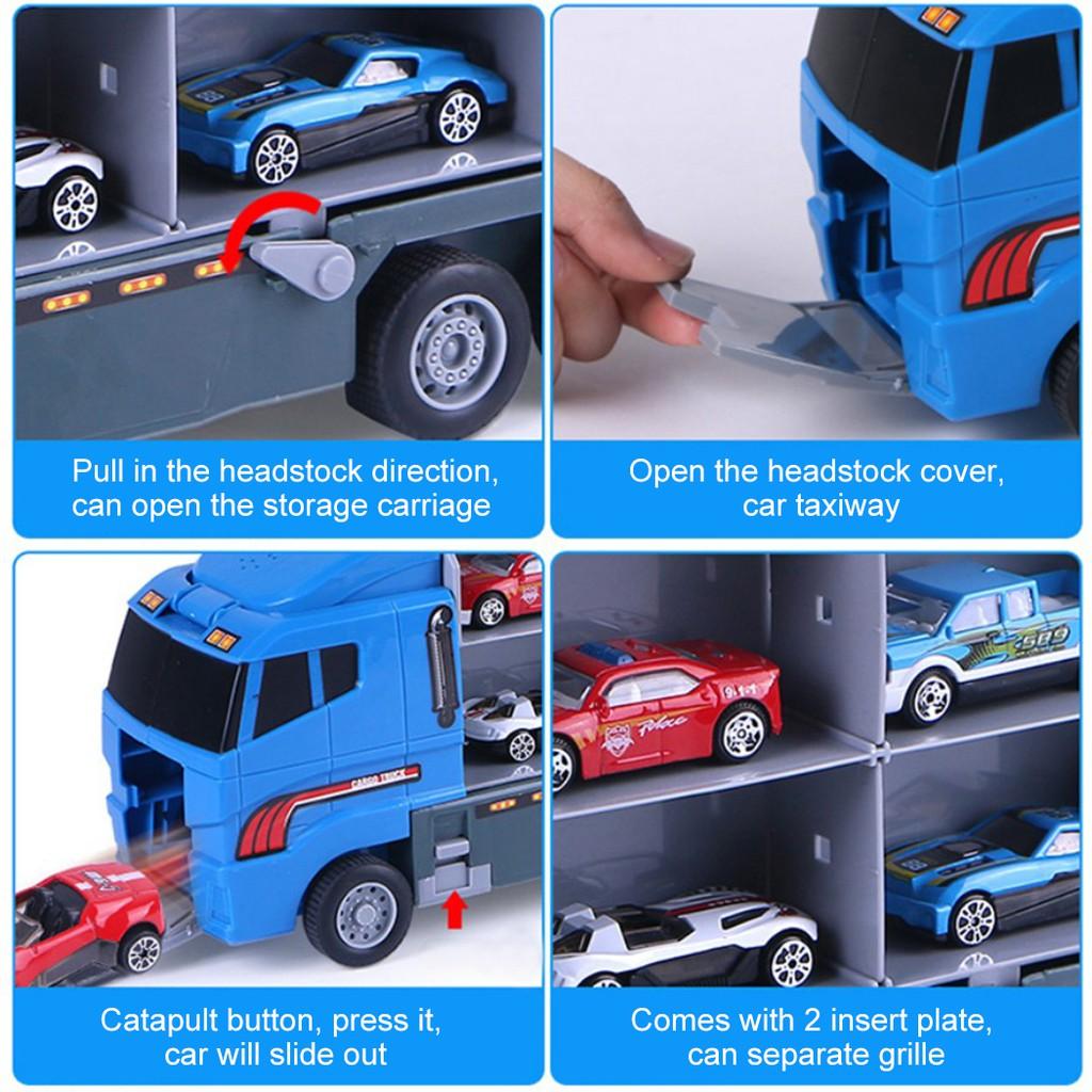 Xe đua đồ chơi + xe tải sáng tạo cho bé - Bộ 6 cái