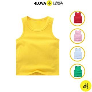 Áo thun ba lỗ cotton cho bé 4LOVA trơn basic hàng chính hãng từ 8-40kg