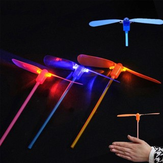 Outdoor Bamboo Dragonfly Funning Hand Push Flying Gifts Toy Led Lighting