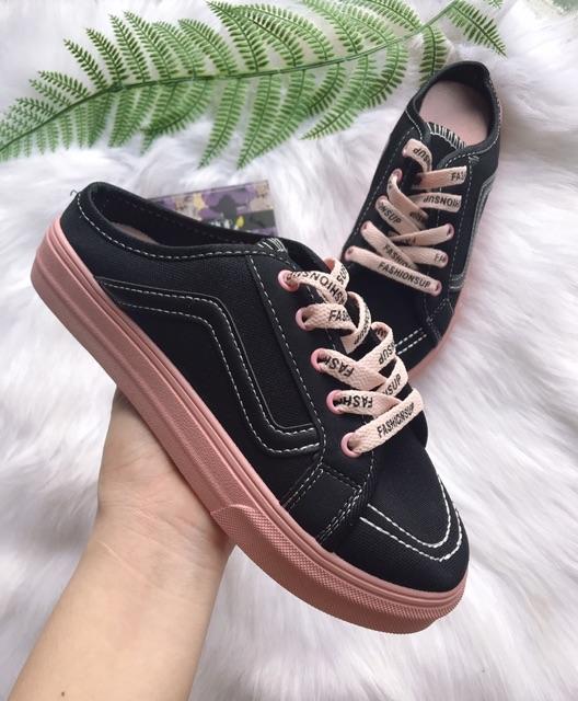 Giày sục thể thao dây hồng cute
