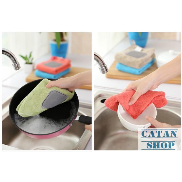 Combo 5 khăn bếp đa năng, Cotton mềm mịn siêu thấm hút lau bếp siêu sạch, có miếng sợi bện cọ xoong