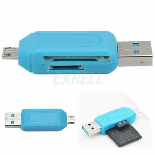 Đầu Đọc Thẻ Nhớ SD TF Có Cổng USB 2.0 OTG Cho Điện Thoại Có Cổng Micro