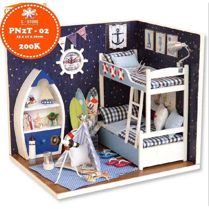 Mô hình nhà búp bê DIY - phòng ngủ bé trai FACE The SKY (CÓ BÚP BÊ)