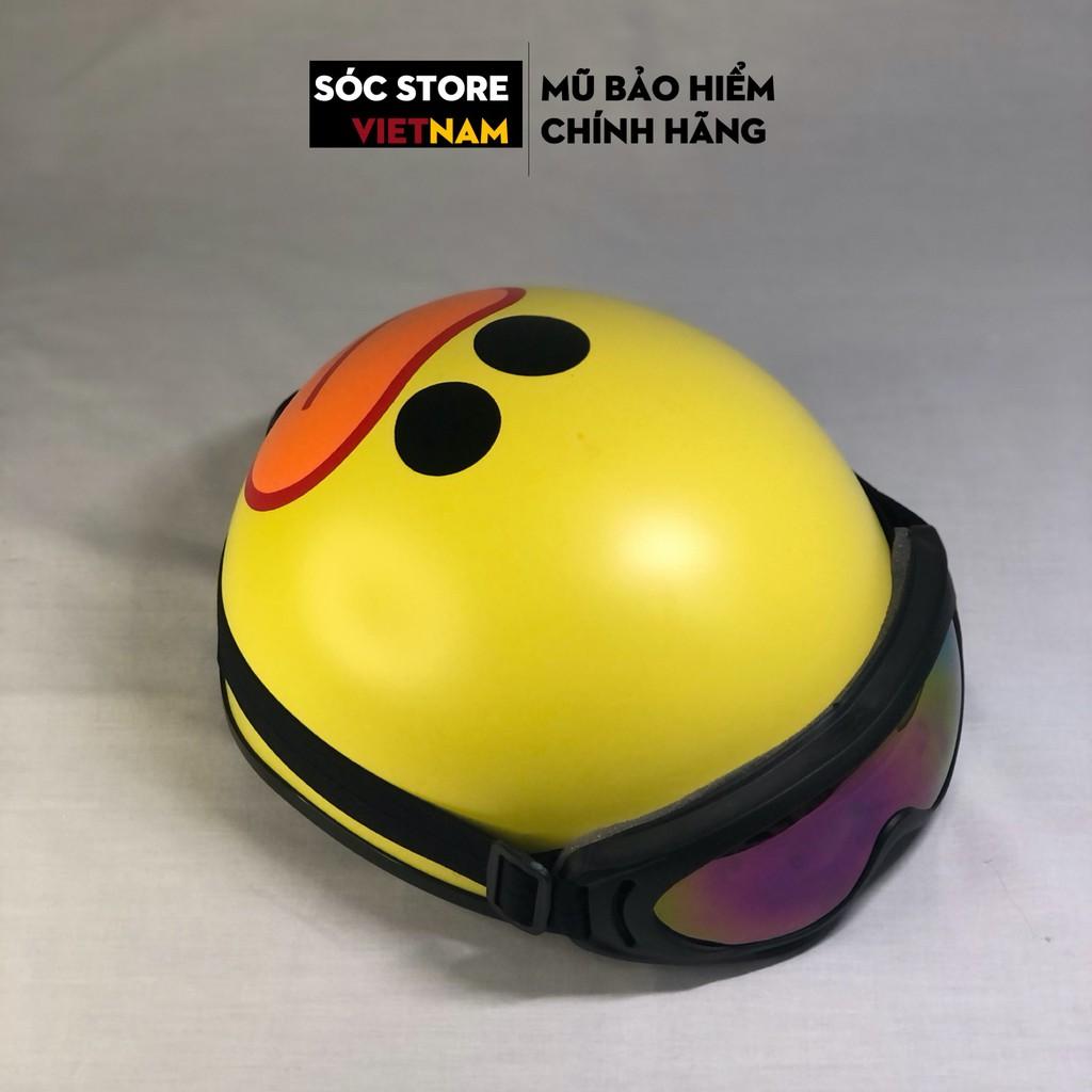 Mũ bảo hiểm nửa đầu chính hãng in hình Vịt vàng Sóc Store, nón bảo hiểm nam nữ 1 phần 2, kèm kính UV, kính phi công