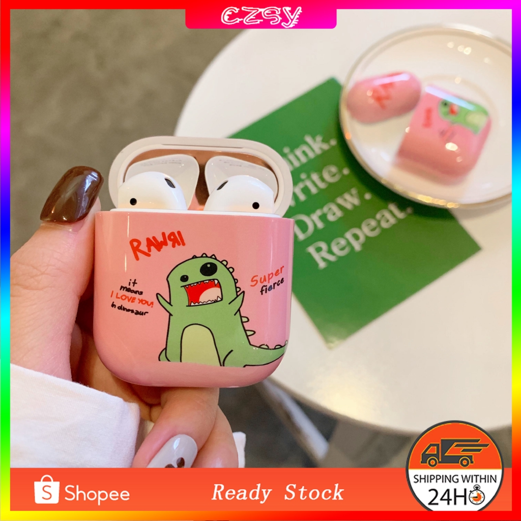 Earphone Case Anime Dinosaur Hard PC Cover For Apple AirPods Wireless Headphone Charging Box