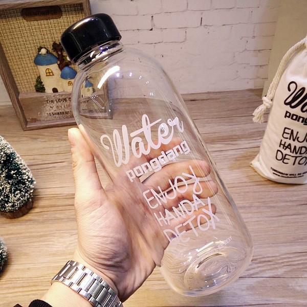"""Bình nước Detox đẹp """" Water Pongdang"""" 1000 ml ( màu trong suốt ) - Kèm 1 Túi Vải"""