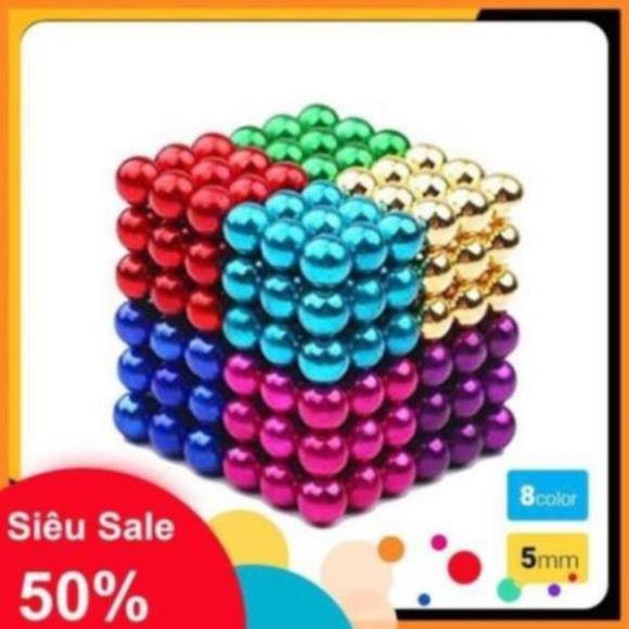 Bi nam châm xếp hình 216 viên 5mm đa sắc 8 màu