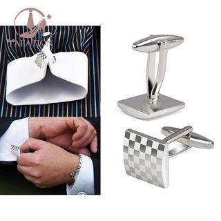 Mens Stainless Steel Business Shirt Sier Square Lattice Wedding Cufflinks