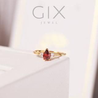 Nhẫn bạc đá đỏ giọt lệ minimalist Gix Jewel SPGN13 thumbnail