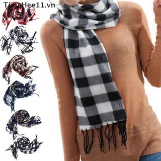【TimeHee11】 Stylish Wool Blend Women&Men Geometric Plaid Wrap Winter Warm Fleece Scarf Shawl 【VN】