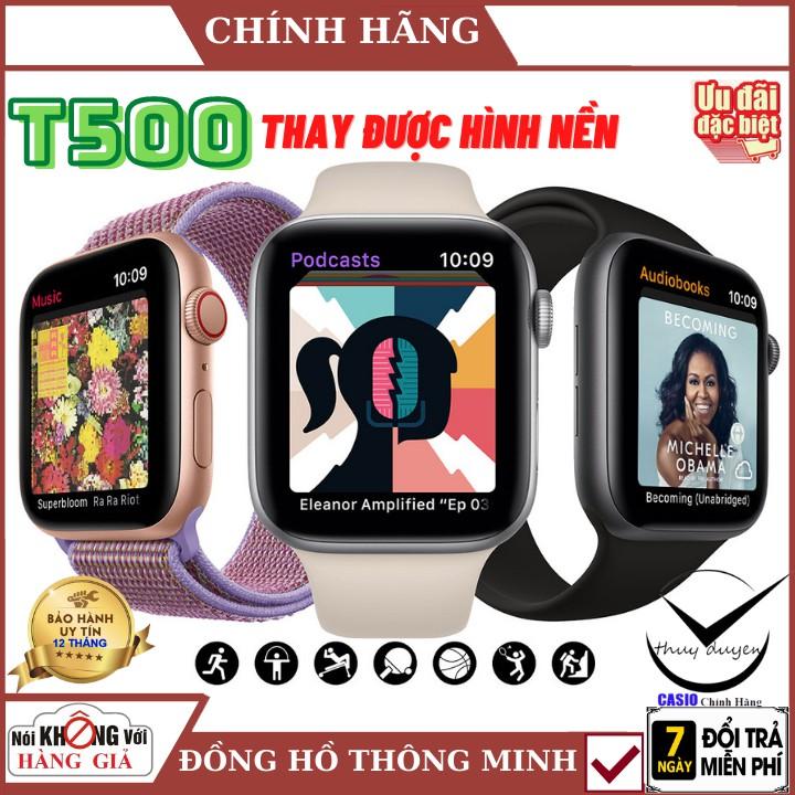 Đồng Hồ Thông Minh T500 , T500 Plus seri 6 Có game ,thay hình nền, Nghe gọi kết nối bluetooth, 44mm, bảo hành chính hãng
