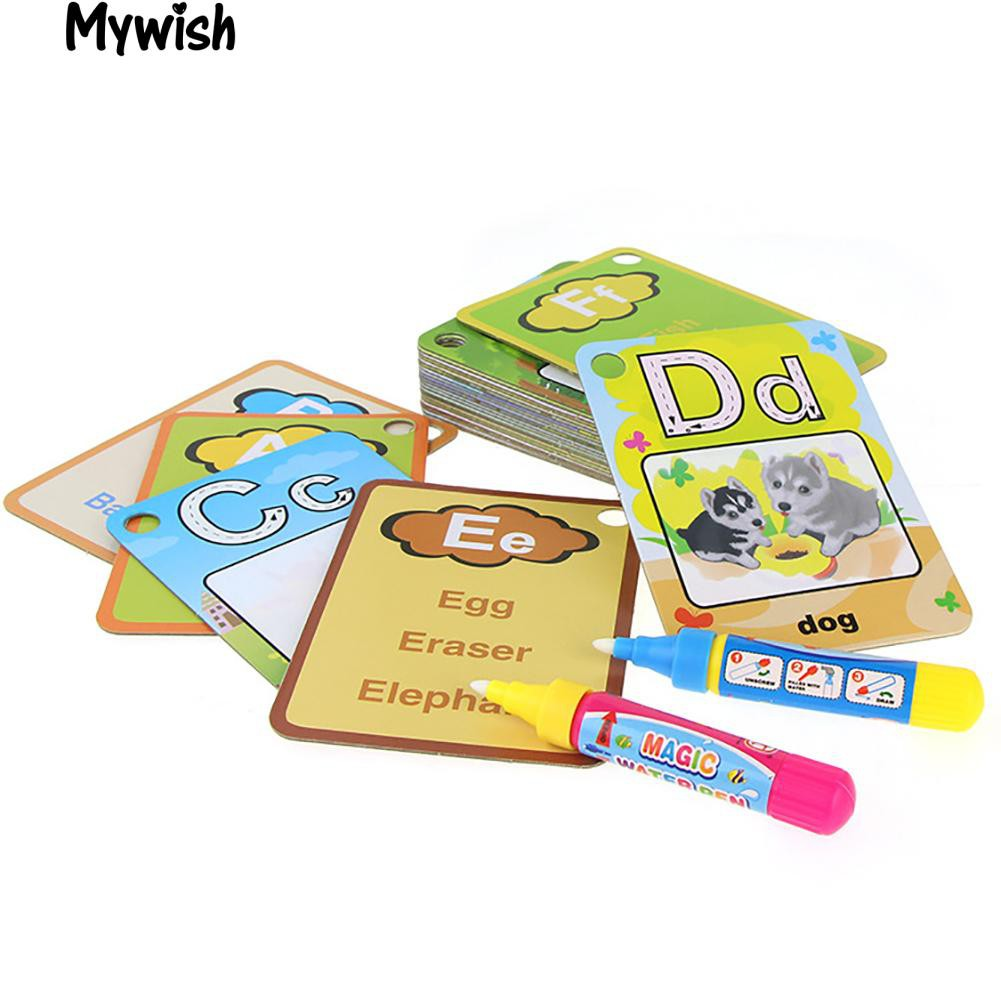 🏆26 Pcs Letter Learning Cards Cartoon Painting Board Pens Educational Tools