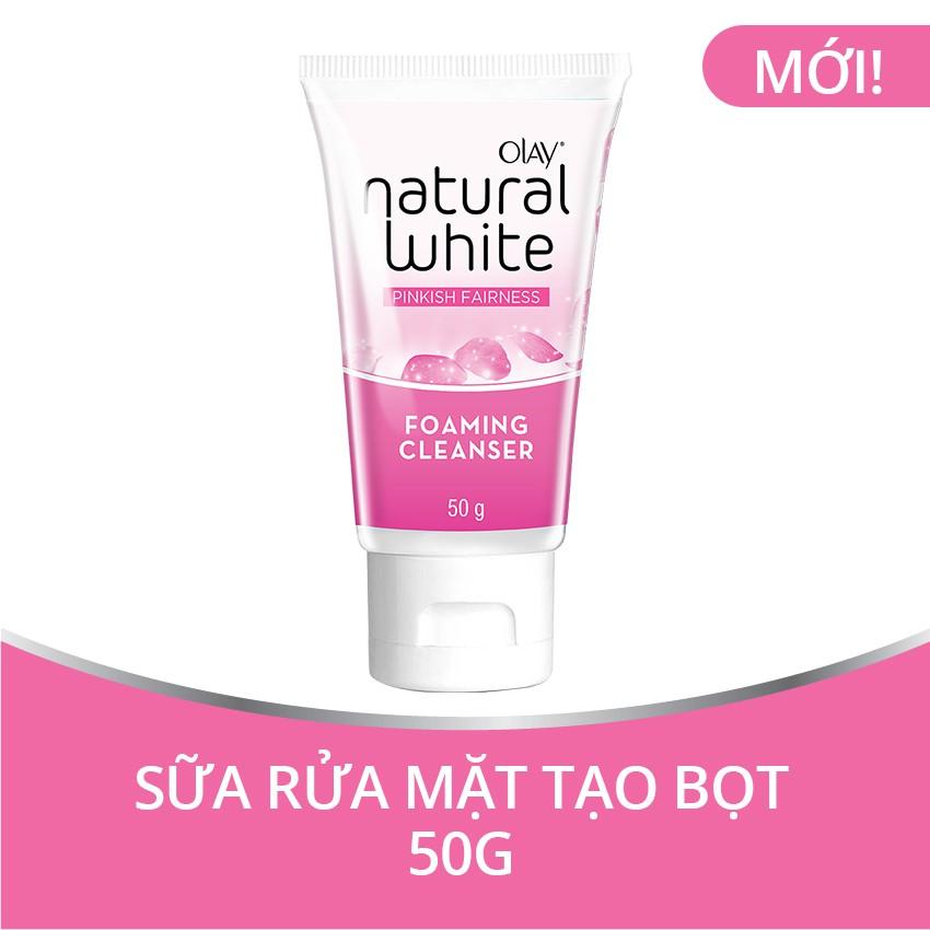 Olay Natural White Sữa rửa mặt tạo bọt 50G - trắng hồng tự nhiên