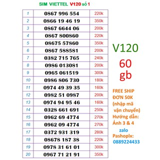 Sim V120 10 số đẹp viettel 4g số 1( 60gb 1 tháng, nghe gọi miễn phí nội mạng, liên mang)