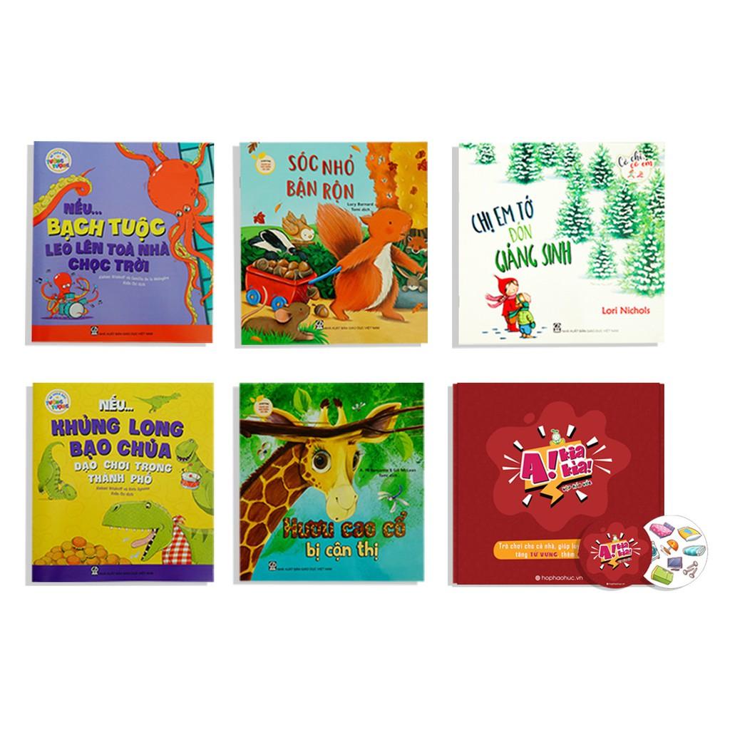 HỘP HÁO HỨC NUÔI DƯỠNG TÂM HỒN, 3-6 tuổi, Combo 5 cuốn sách, Set trò chơi A KIA KÌA chủ đề đồ vật trong gia đình