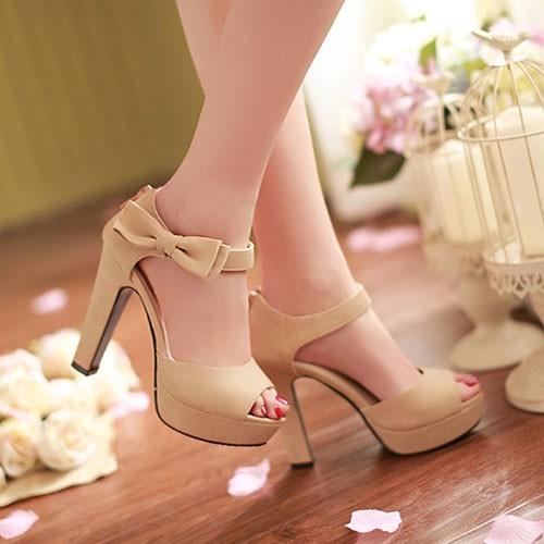 Giày cao gót hở mũi đính nơ xinh xắn - CG1093