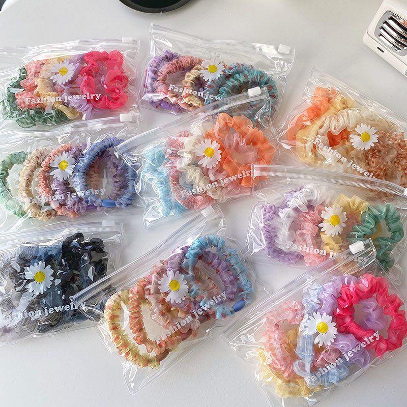 Set 5 dây buộc tóc Scrunchies kèm túi zip vịt