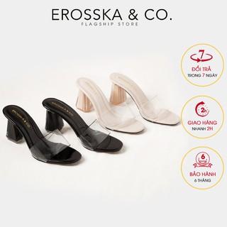 Dép cao gót quai trong Erosska mũi vuông gót trong cao 9cm màu đen _ EM040