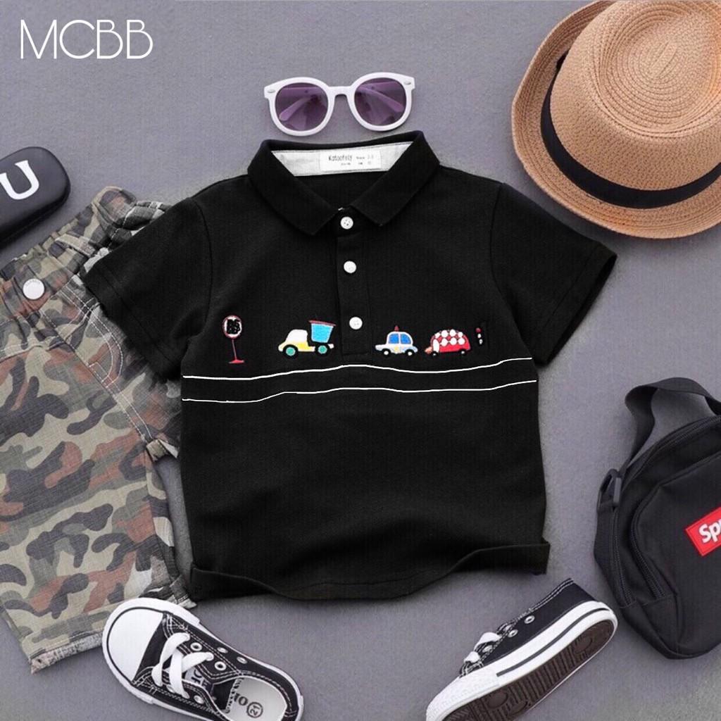 MCBB - Size Lớn 25-45 Kg Áo Polo Bé Trai Cotton Áo Thun Có Cổ Ngắn Tay Con Đường Áo Phông Bé Trai Áo Bé Trai Nam Bộ AOS6