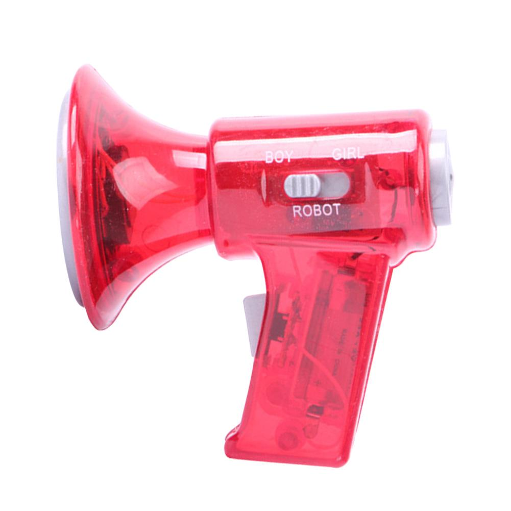 Mini Size Plastic Megaphone Red Sound Effects LED Lights Loud Toy Voice Changer Children Gift
