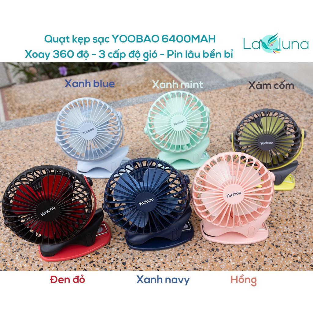 BẢO HÀNH-HÀNG CÓ SẴN. Quạt kẹp sạc Yoobao mini cầm tay di động 6400MAH, xoay 360 độ, 3 cấp độ gió