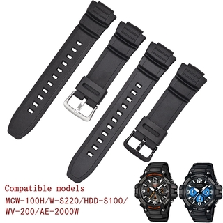 Dây Đeo Silicone Cho Đồng Hồ Casio Mcw-100H / 110h / W-S220 / Hdd-S100 Wv-200 / Ae-2000 / 2100