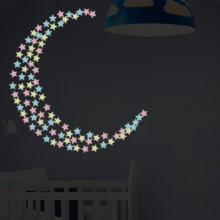 100pcs 3.8cm DIY Colorful Wall Stickers Luminous Fluorescent Star Sticker