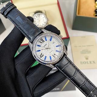 [Fullboxx 1:1] Đồng hồ nam Rolex đính đá full box dây da - bảo hành 12 tháng