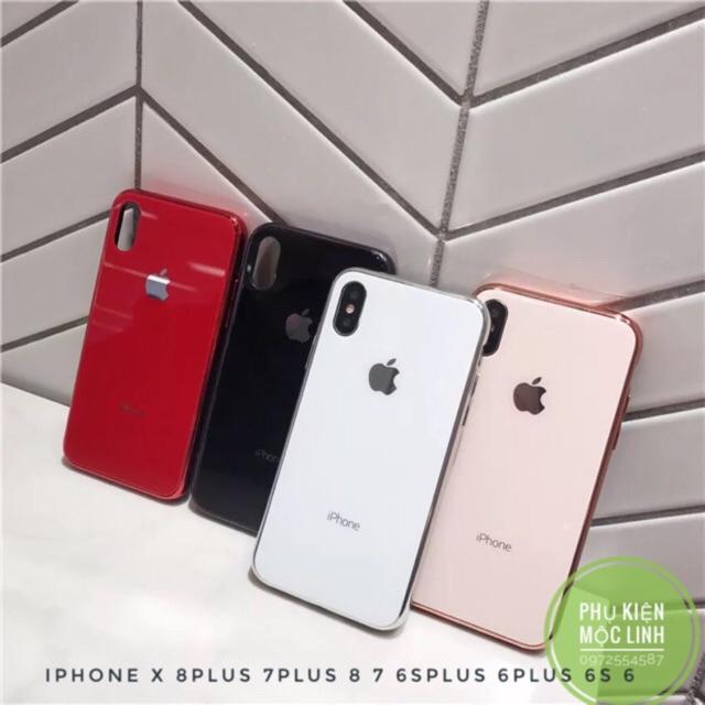 ỐP LƯNG KÍNH VIỀN DẺO CÙNG MÀU Iphone 11 Pro Max | 11 | 11 Pro | 8 7 6splus 6plus