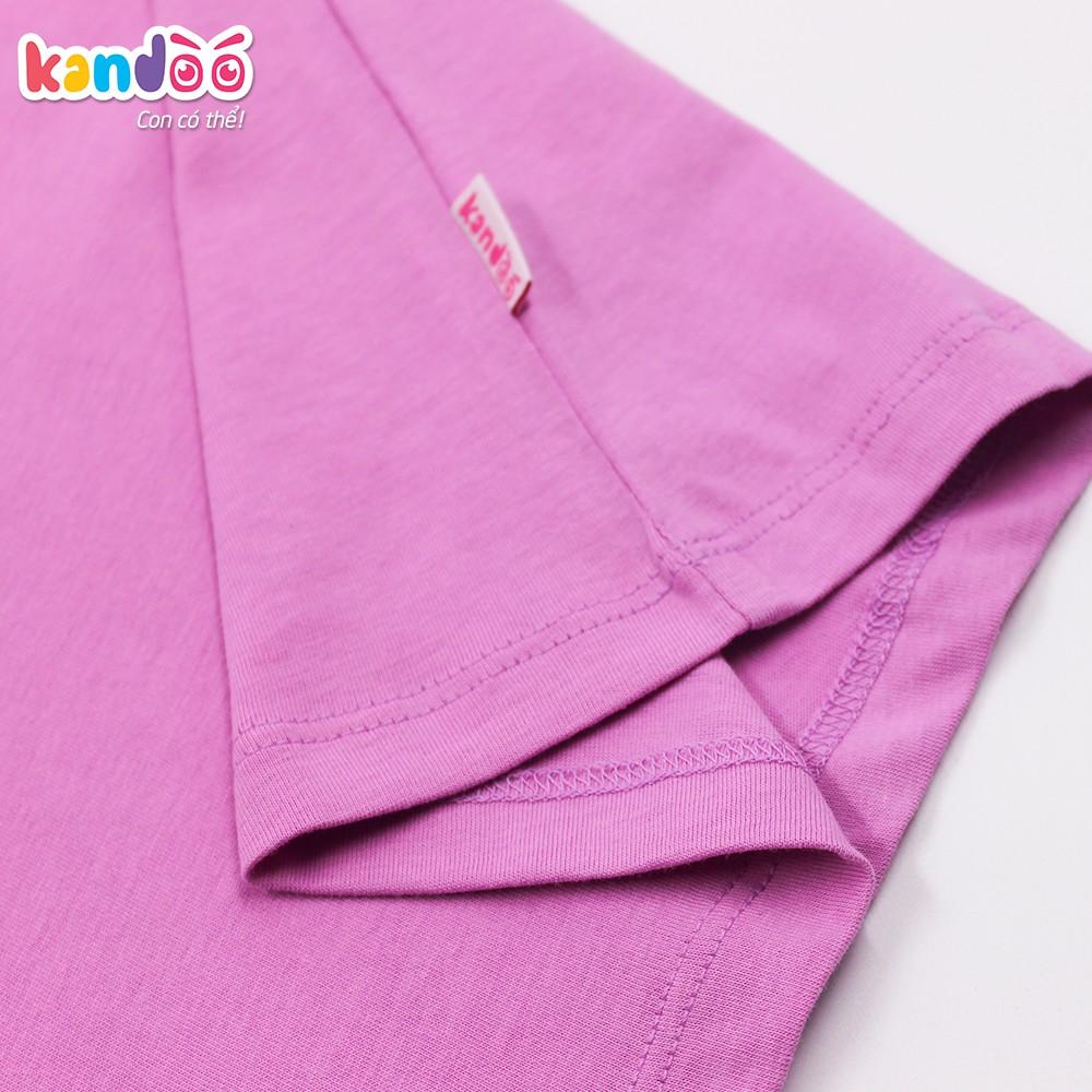 Áo T-shirt bé gái KANDOO tím lan ý, in hình đáng yêu, 100% cotton cao cấp mềm mịn, thoáng mát - DGTS1736