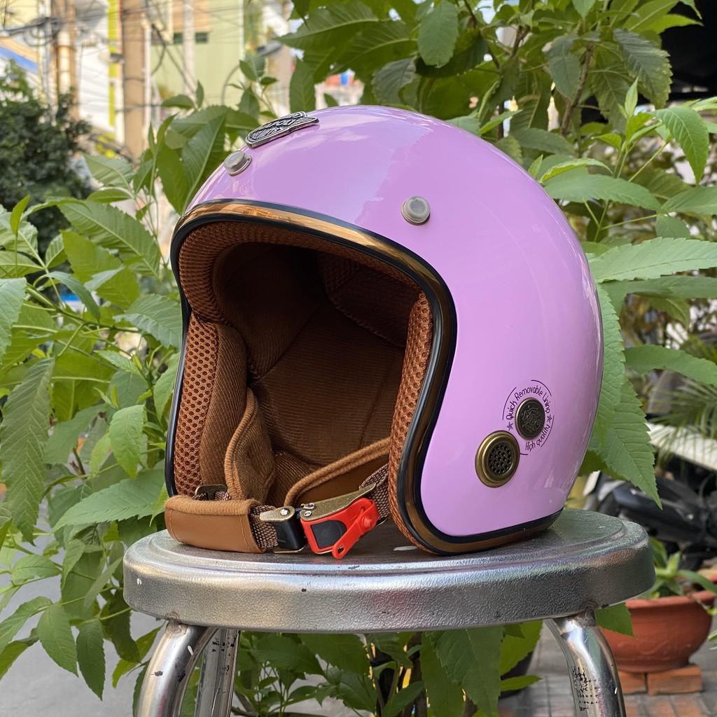 Mũ Bảo Hiểm 3/4 Napoli Sh Ruby Màu Hồng Lót Nâu - Free size ( 54-58 cm ) Bảo Hành 12 Tháng