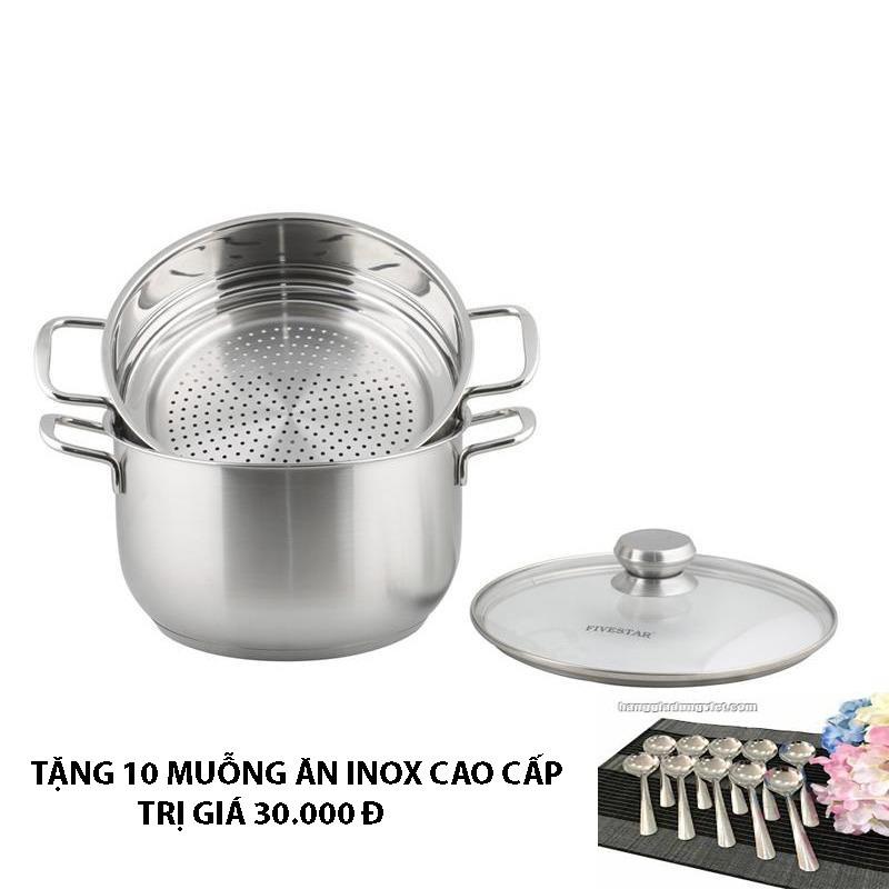 Bộ xửng hấp 3 đáy inox 430 FiveStar Standard bếp từ nắp kính tặng 10 muỗng ăn ( 24cm )