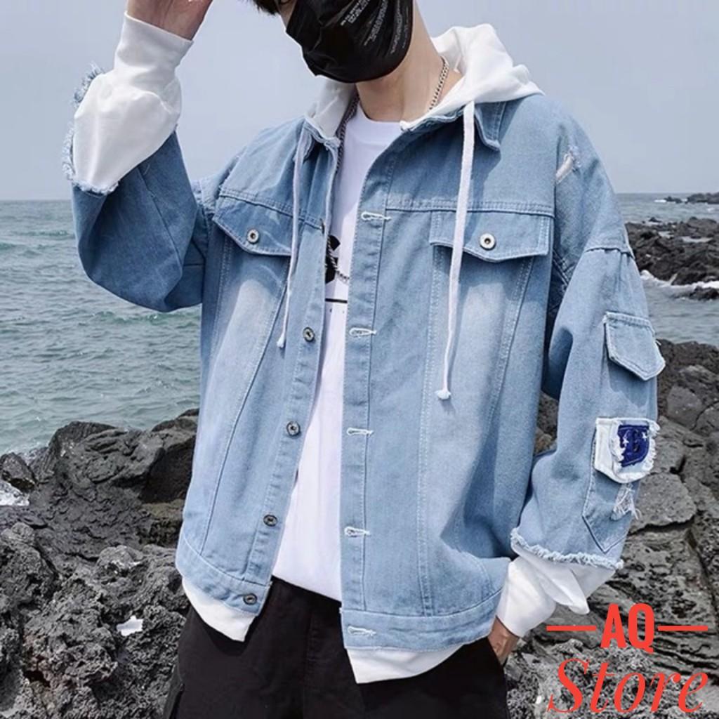 Áo Khoác JEAN Nam Nữ Liền Mũ Cao Cấp Đẹp💖FREESHIP+QUÀ TẶNG💖 Áo Khoác Jeans Nam Nỉ Phối Liền Mũ Unisex -QSTORE